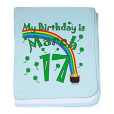 St. Patrick's Day March 17th Birthday baby blanket