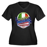Italian American Women's Plus Size V-Neck Dark T-S