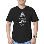 Keep Calm and Write On Men's Fitted T-Shirt (dark)
