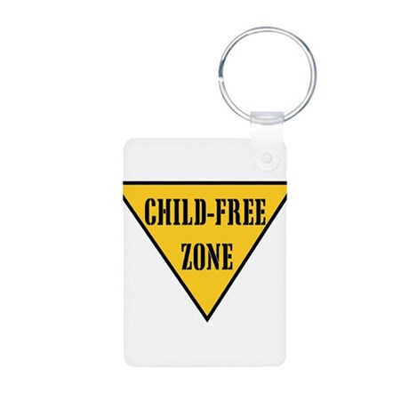Child-Free Zone Aluminum Photo Keychain