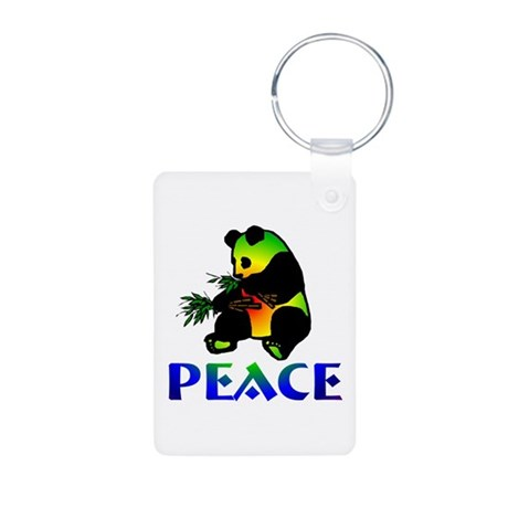 Peace Panda Bear Aluminum Photo Keychain