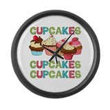 Cupcakes Cupcakes Cupcakes Large Wall Clock