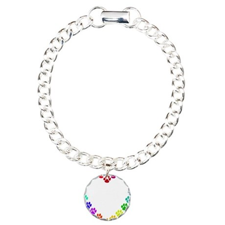 Cat Print Heart Charm Bracelet, One Charm