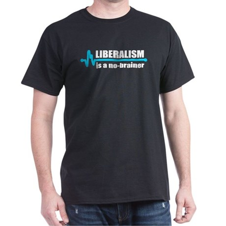Liberalism - no brainer Black T-Shirt