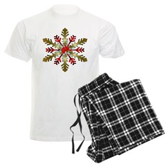 Gold and Red Snowflake Men's Light Pajamas