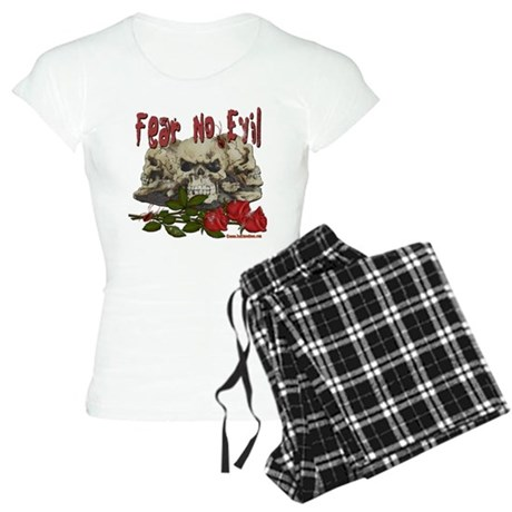 Fear No Evil Skull and Rose Women's Light Pajamas