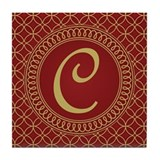 Letter C Monogram Initial Cute Tile Coaster