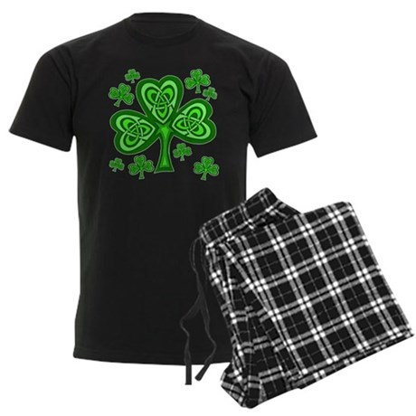 Celtic Shamrocks Men's Dark Pajamas