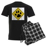 Cat Crossing Sign Men's Dark Pajamas