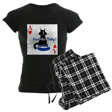Cats Playing Poker Women's Dark Pajamas