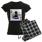 Cats Playing Poker Women's Dark Pajamas
