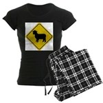Sheep Crossing Sign Women's Dark Pajamas