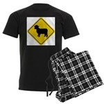 Sheep Crossing Sign Men's Dark Pajamas
