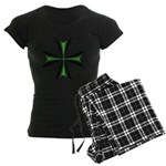 Green Maltese Cross Women's Dark Pajamas