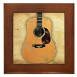 Acoustic Guitar (worn look) Framed Tile