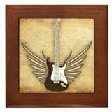 Winged Electric Guitar Framed Tile