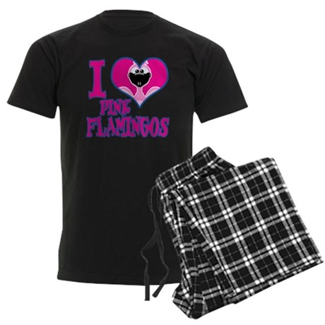I Love (Heart) Pink Flamingos Men's Dark Pajamas