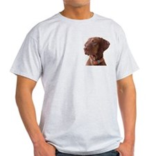 "Vizsla head shot of ""Tru"" Ash Grey T-Shirt"