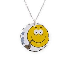 Pipe Smoking Smiley Face Necklace