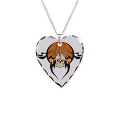 Wanted Skeleton Design Necklace Heart Charm