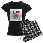 I Heart (Love) Green Olives Women's Dark Pajamas