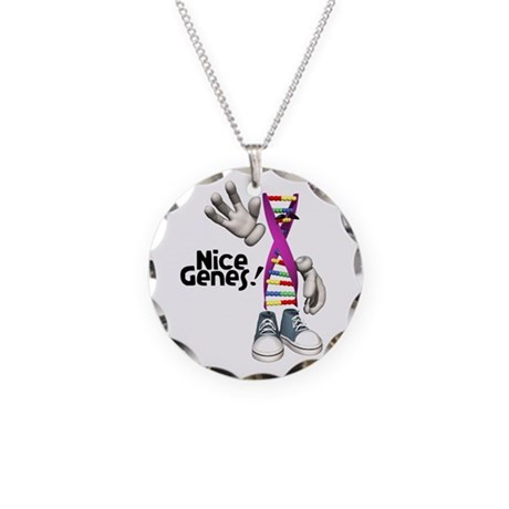 Nice Genes Funny DNA Strip Necklace Circle Charm