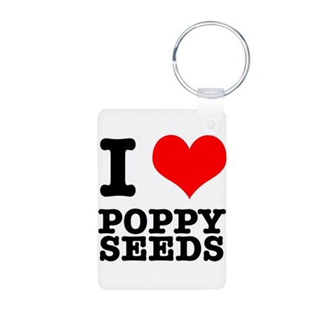 I Heart (Love) Poppy Seeds Aluminum Photo Keychain