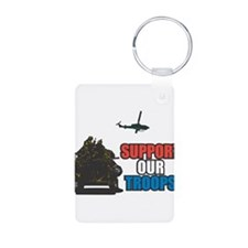 Support Our Troops Tank Desig Keychains