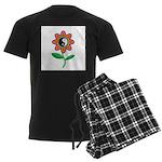Retro Yin Yang Flower Men's Dark Pajamas