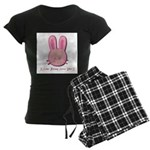 Breast Cancer Bunny Women's Dark Pajamas