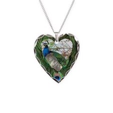Peacock In a Heart Necklace