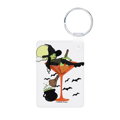 Halloween Martini Girl Aluminum Photo Keychain