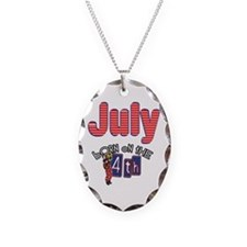 July 4th Birthday Necklace Oval Charm