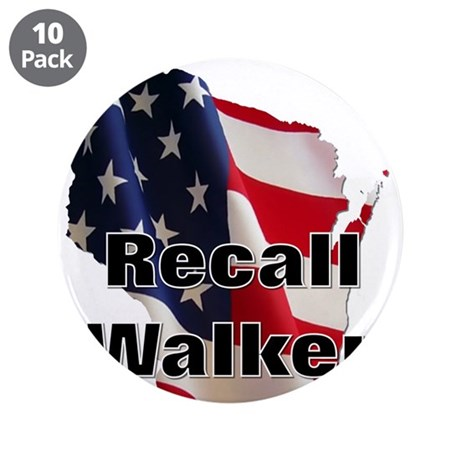 "Solidarity - Union - Recall W 3.5"" Button (10 pack"