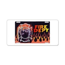 FIRE DEPT FLAMES Aluminum License Plate