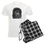 Black Poodle Pencil Drawing Men's Light Pajamas