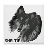 Adoring Sheltie Tile Coaster