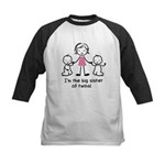 Big Sister of Twins Kids Baseball Jersey