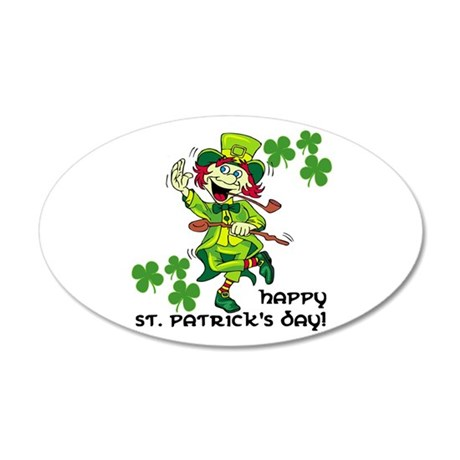 Happy St. Patrick's Day 22x14 Oval Wall Peel