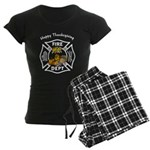 Thanksgiving Firefighter Women's Dark Pajamas