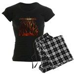 Firefighter Tribal Flames Women's Dark Pajamas