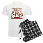 Firefighter Tribal Flames Men's Light Pajamas