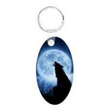 Cries of the Night Wolf Oval Keychain