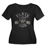 PLATE HOGGER Women's Plus Size Scoop Neck Dark T-S