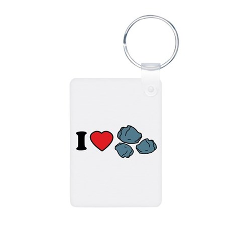 I Love Rocks Aluminum Photo Keychain