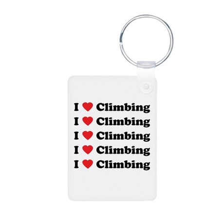 I Love Climbing (A lot) Aluminum Photo Keychain