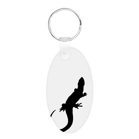 Black Lizard Aluminum Oval Keychain