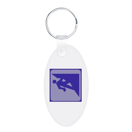 Climbing Guy Icon Aluminum Oval Keychain