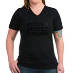 World's Greatest Mom Women's V-Neck Dark T-Shirt