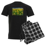 Sunflower Cluster Men's Dark Pajamas